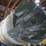 titanium tube bundle for a shell and tube heat exchanger with a stainless steel shell fabricated by Ellett Industries